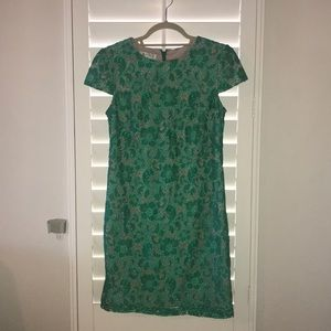 Green floral lace dress with beige lining, size 4